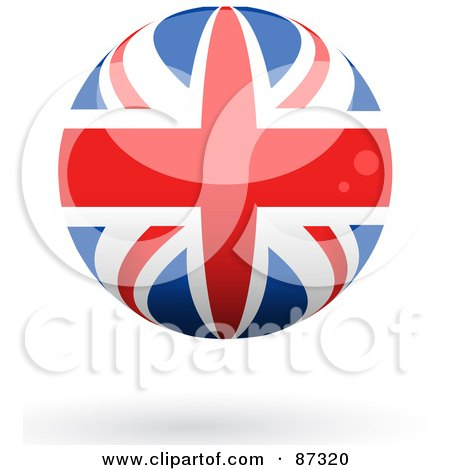 Royalty-Free (RF) Clipart Illustration of a Shiny 3d United Kingdom Sphere by elaineitalia