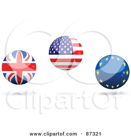 Royalty-Free (RF) Clipart Illustration of a Digital Collage Of Shiny 3d UK, American And Europe Spheres by elaineitalia