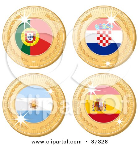 Royalty-Free (RF) Clipart Illustration of a Digital Collage Of 3d Golden Shiny Portugal, Croatia, Argentina And Spain Medals by elaineitalia