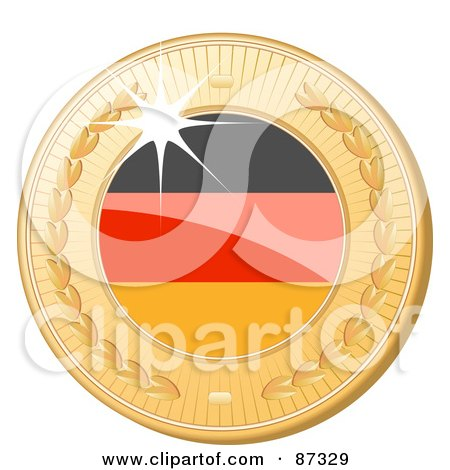 Royalty-Free (RF) Clipart Illustration of a 3d Golden Shiny Germany Medal by elaineitalia