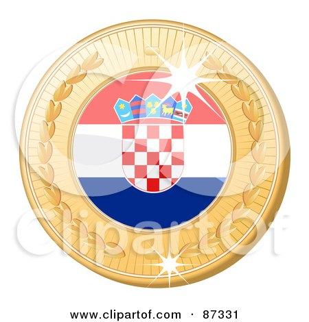 Royalty-Free (RF) Clipart Illustration of a 3d Golden Shiny Croatia Medal by elaineitalia
