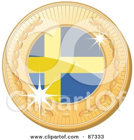 Royalty-Free (RF) Clipart Illustration of a 3d Golden Shiny Sweden Medal by elaineitalia