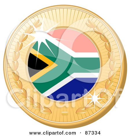Royalty-Free (RF) Clipart Illustration of a 3d Golden Shiny South Africa Medal by elaineitalia
