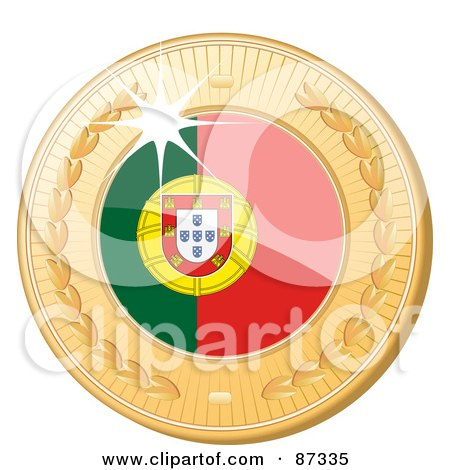 Royalty-Free (RF) Clipart Illustration of a 3d Golden Shiny Portugal Medal by elaineitalia