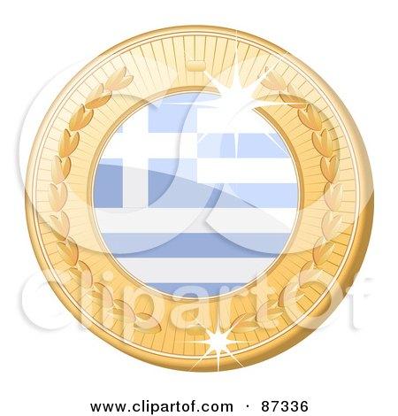 Royalty-Free (RF) Clipart Illustration of a 3d Golden Shiny Greece Medal by elaineitalia