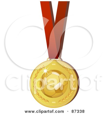 Shiny 3d Golden Soccer Sports Medal On A Red Ribbon Posters, Art Prints