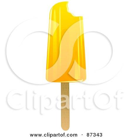 Royalty-Free (RF) Clipart Illustration of a Lemon Bitten Ice Pop by elaineitalia