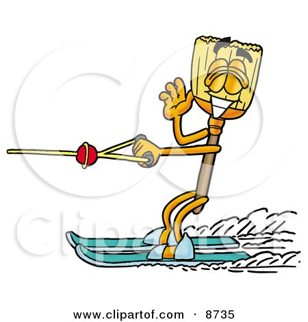 Clipart Picture of a Broom Mascot Cartoon Character Waving While Water Skiing by Toons4Biz