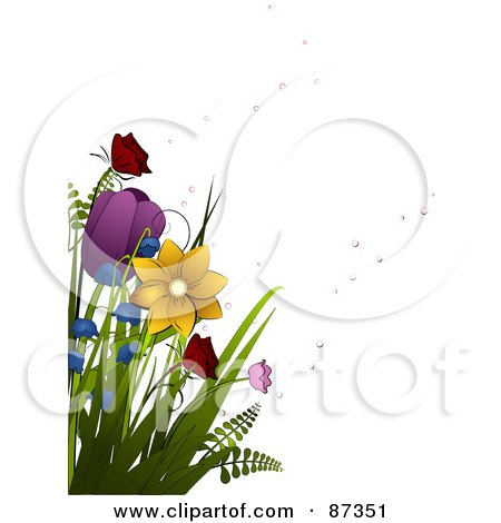 Royalty-Free (RF) Clipart Illustration of Colorful Spring Flowers And Bubbles by elaineitalia