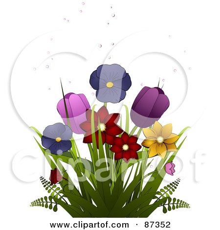 Royalty-Free (RF) Clipart Illustration of Colorful Spring Daffodils, Pansies And Tulips With Bubbles by elaineitalia