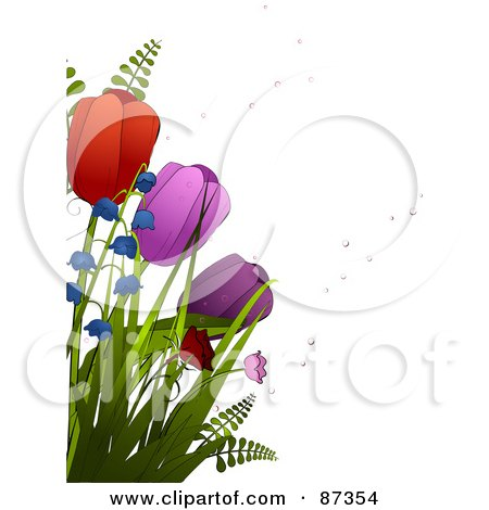 Royalty-Free (RF) Clipart Illustration of Red And Purple Spring Tulips And Bell Flowers With Bubbles by elaineitalia