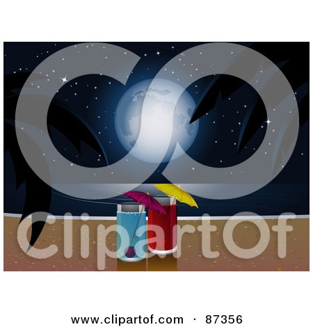 Royalty-Free (RF) Clipart Illustration of Two Cocktails With A View Of A Full Moon Over The Ocean And A Tropical Beach At Night by elaineitalia