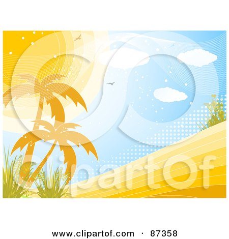 Horizontal Tropical Landscape Scene Of The Sun Over Palm Trees And Halftone Posters, Art Prints