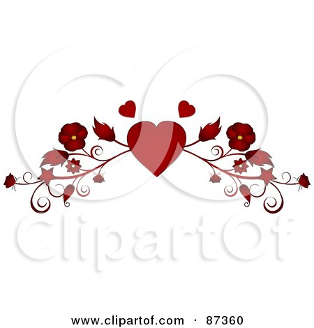 Royalty-Free (RF) Clipart Illustration of a Red Heart And Floral Valentine Website Header Flourish by elaineitalia