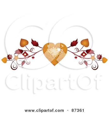 Royalty-Free (RF) Clipart Illustration of a Golden Disco Heart And Vine Valentine Website Header Flourish by elaineitalia