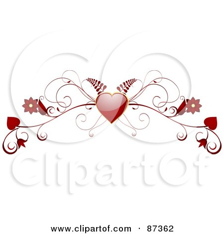 Royalty-Free (RF) Clipart Illustration of a Red Fern, Heart And Floral Valentine Website Header Flourish by elaineitalia