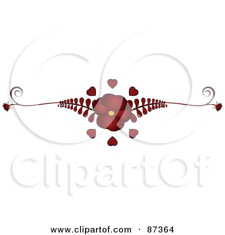 Royalty-Free (RF) Clipart Illustration of a Red Flower And Fern Valentine Website Header Flourish by elaineitalia