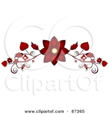 Royalty-Free (RF) Clipart Illustration of a Red Flower Valentine Website Header Flourish by elaineitalia