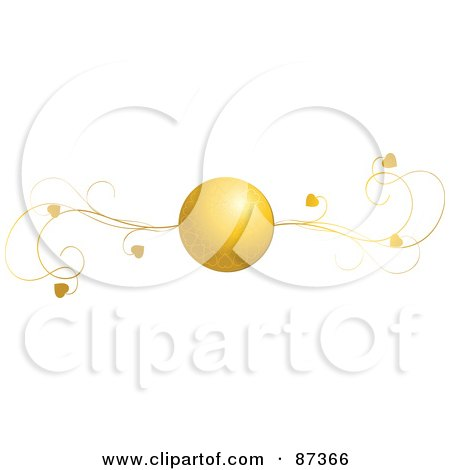 Royalty-Free (RF) Clipart Illustration of a Golden Heart Ball And Vine Valentine Website Header Flourish by elaineitalia