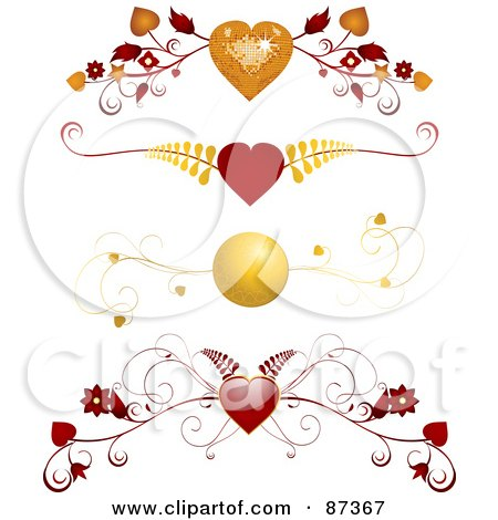 Royalty-Free (RF) Clipart Illustration of a Digital Collage Of Red And Gold Floral Heart Valentine Header Flourishes by elaineitalia