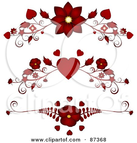 Royalty-Free (RF) Clipart Illustration of a Digital Collage Of Red Floral Heart Valentine Header Flourishes by elaineitalia