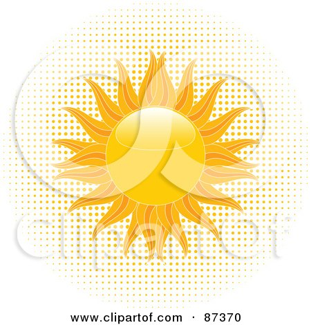 Blazing Shiny Summer Sun Over Halftone Dots Posters, Art Prints