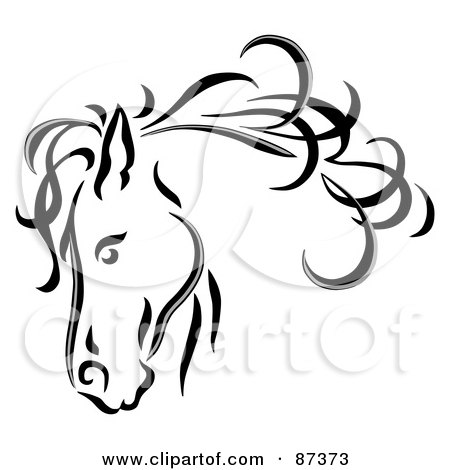 Black Line Art Horse Head With A Blowing Mane Posters, Art Prints