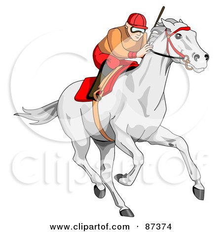 Royalty-Free (RF) Clipart Illustration of a Focused Jockey Racing A White Horse by C Charley-Franzwa