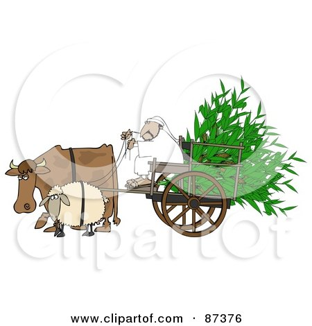 Royalty-Free (RF) Clipart Illustration of a Cow And Sheep Pulling A Middle Eastern Man And Corn In A Cart by djart