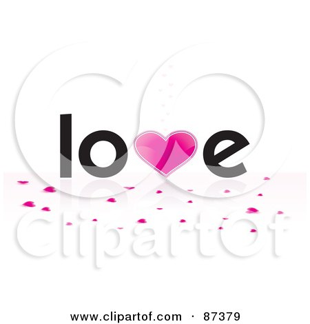 Royalty-Free (RF) Clipart Illustration of Heart Confetti Under The Word Love by MilsiArt