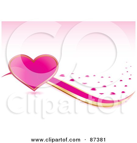 Royalty-Free (RF) Clipart Illustration of a Large Shiny Pink Heart With Gold And Pink Ribbons And Hearts On Pink by MilsiArt