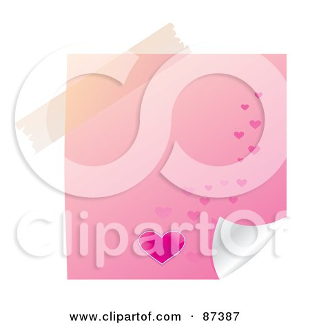 Royalty-Free (RF) Clipart Illustration of a Piece Of Tape Over A Pink Heart Note by MilsiArt