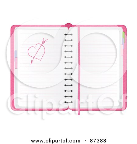 Royalty-Free (RF) Clipart Illustration of a Pink Day Planner With A Heart And Arrow Sketch by MilsiArt