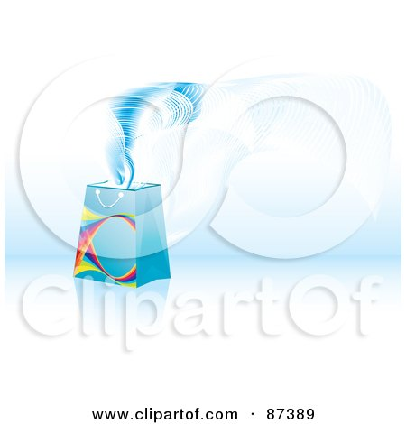 Royalty-Free (RF) Clipart Illustration of Magic Floating Out Of A Blue Shopping Or Gift Bag by MilsiArt