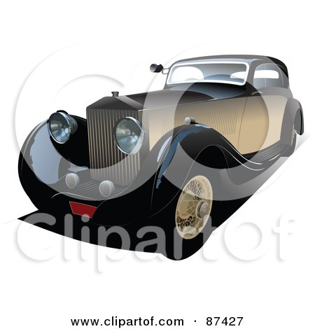 Royalty-Free (RF) Clipart Illustration of a Brown Vintage Car by leonid