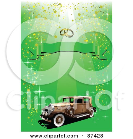 Royalty-Free (RF) Clipart Illustration of a Vintage Car Under Wedding Rings And A Banner On A Glittery Green Background by leonid