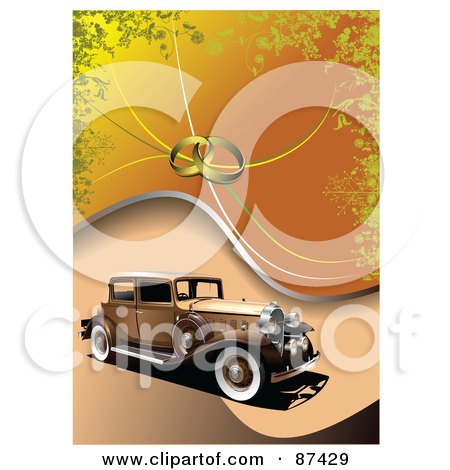 Royalty-Free (RF) Clipart Illustration of an Antique Car On An Orange Background With Wedding Rings by leonid