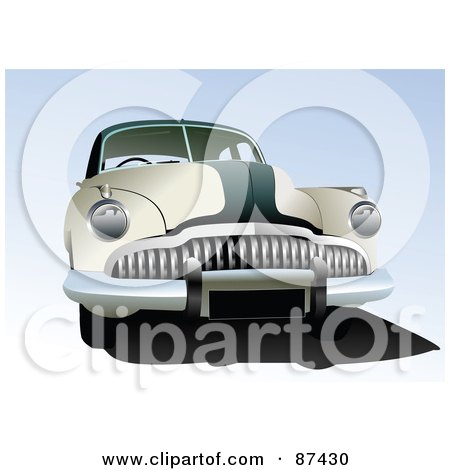 Royalty-Free (RF) Clipart Illustration of a Retro Green And Beige Car Over Blue by leonid
