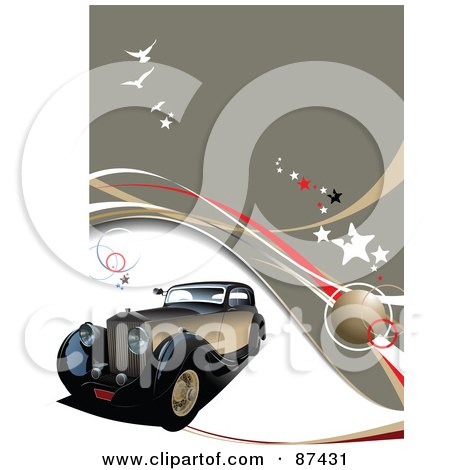 Royalty-Free (RF) Clipart Illustration of an Antique Car On A Brown Background With Stars, Gulls And Waves by leonid