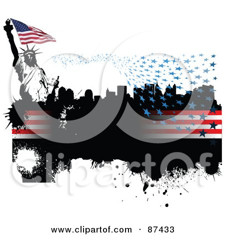 Royalty-Free (RF) Clipart Illustration of a Grungy American Background With Floating Stars, Stripes, A City And Statue Of Liberty On White by leonid