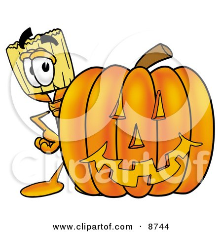 Clipart Picture of a Broom Mascot Cartoon Character With a Carved Halloween Pumpkin by Toons4Biz
