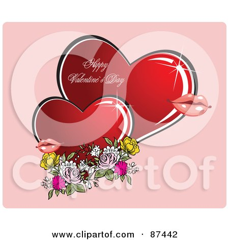 87442 Royalty Free RF Clipart Illustration Of A Happy Valentines Day Greeting Of Two Hearts Lips And Flowers On Pink ... with lots of personality that genuinely enjoys getting nude outside!