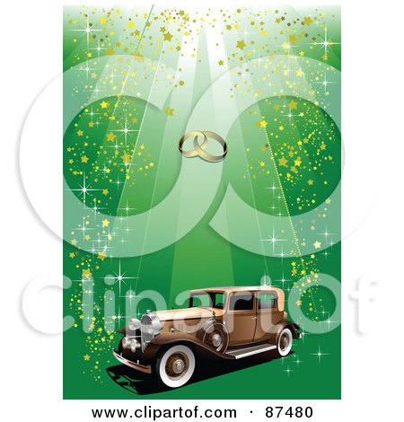 Royalty-Free (RF) Clipart Illustration of a Vintage Car Under Wedding Bands On A Glittery Green Background by leonid