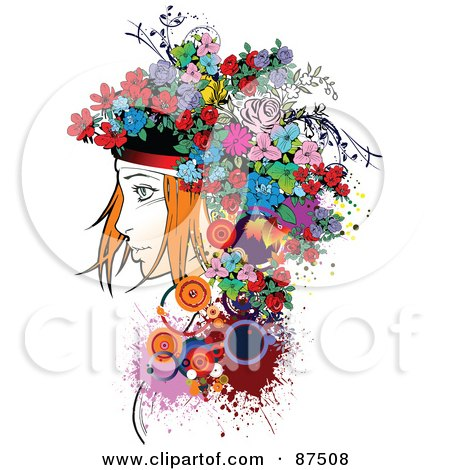 Royalty-Free (RF) Clipart Illustration of a Red Haired Woman With A Floral Hat by leonid