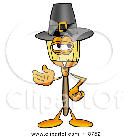 Clipart Picture of a Broom Mascot Cartoon Character Wearing a Pilgrim Hat on Thanksgiving by Toons4Biz