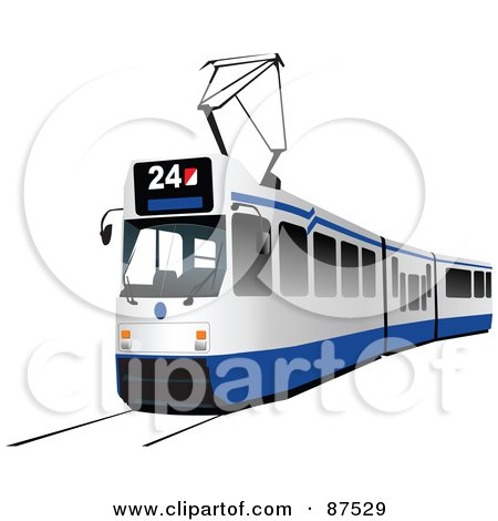 Royalty-Free (RF) Clipart Illustration of a Modern Blue And White Tram Car by leonid
