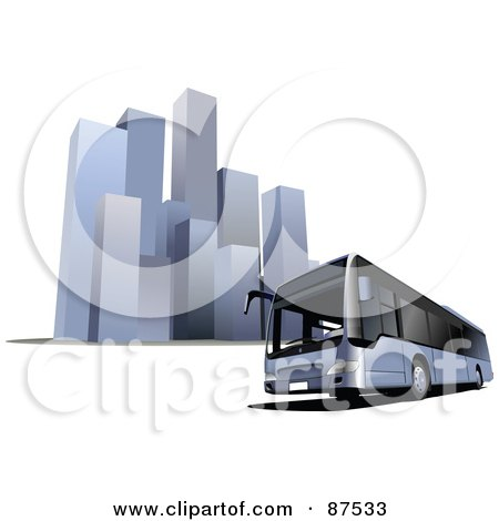 Royalty-Free (RF) Clipart Illustration of a Modern Bus In Front Of Tall Skyscrapers by leonid