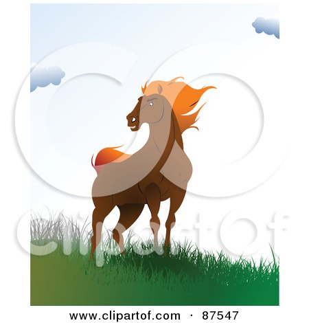 Royalty-Free (RF) Clipart Illustration of a Wild Brown Horse Standing On A Windy Hill by leonid