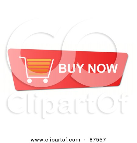 Royalty-Free (RF) Clipart Illustration of a Red Buy Now Shopping Cart Button by oboy
