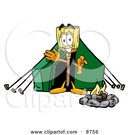 Broom Mascot Cartoon Character Camping With a Tent and Fire Posters, Art Prints